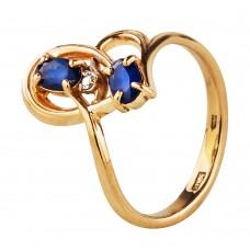 Бронь! Золотое кольцо с синим цирконием