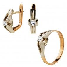 Золотой комплект с цирконием: кольцо и серьги