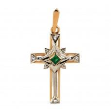 Золотая подвеска: крестик с изумрудом