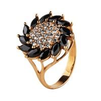 Продано! Золотое кольцо с черным и белым цирконием
