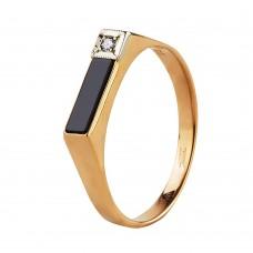 Золотой перстень с бриллиантом и агатом