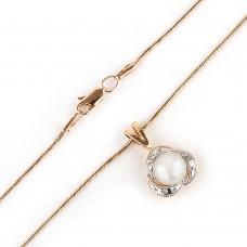 Золотое колье с жемчугом и цирконием