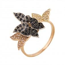 """Золотое кольцо с белым и черным цирконием """"Бабочки"""""""