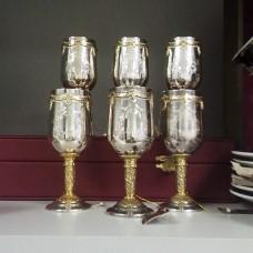 Набор бокалов из серебра с позолотой 6 штук