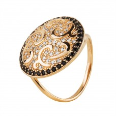 Золотое кольцо с белым и черным цирконием