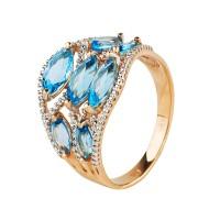 """Золотой комплект: кольцо и кулон с топазами """"Голубая лагуна"""""""
