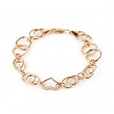 Золотой браслет с белым цирконием