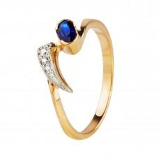 """ПРОДАНО.Золотое кольцо с сапфиром и бриллиантами """"Санса"""""""